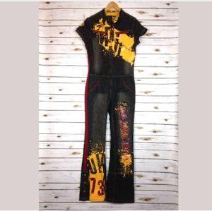 Pepe Jeans London VTG Denim Graffiti Jumpsuit Sz L